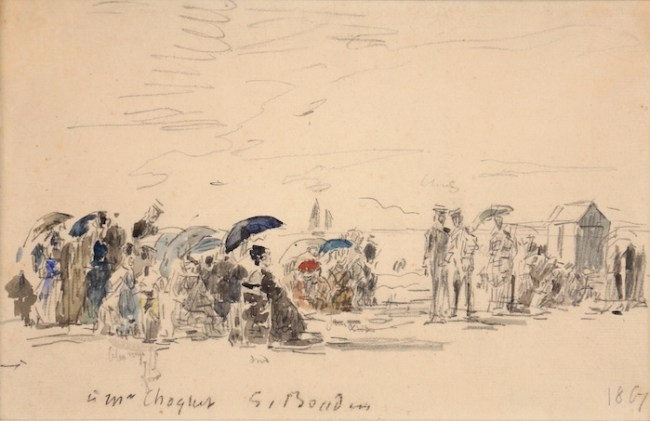 Work by Eugène Boudin available at Galerie de la Présidence, Sur la Plage, 1867, Watercolor, Price upon request