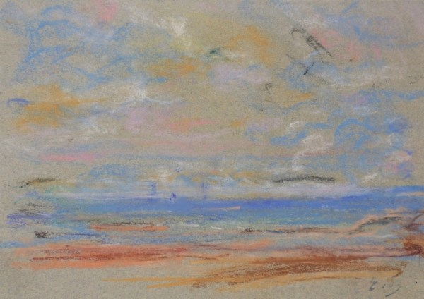 Eugène Boudin, Rivage et ciel, Circa 1860-66, Pastel, 15,1 x 21,5 cm
