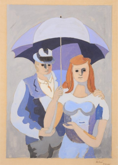 Work by Jean Hélion available at Galerie de la Présidence, Couple au parapluie, NY 1946, Gouache, 40 x 26 cm, Price upon request