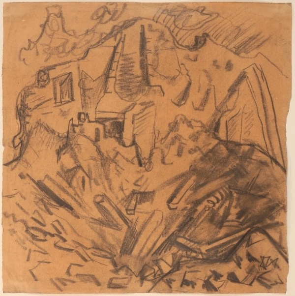 Drawing by Otto Dix available at Galerie de la Présidence, Granattrichter in einem Haus, Circa 1916, Charcoal, 28,5 x 28,4cm, Price upon request