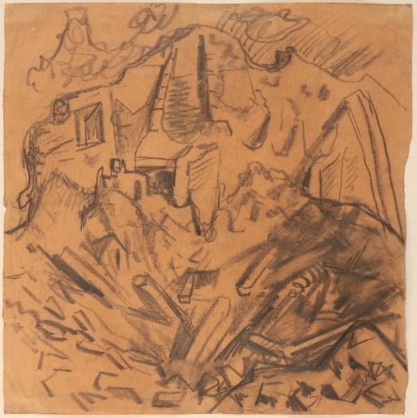 Dessin d'Otto Dix disponible à la Galerie de la Présidence, Granattrichter in einem Haus, Circa 1916, Fusain, 28,5 x 28,4cm, Prix sur demande