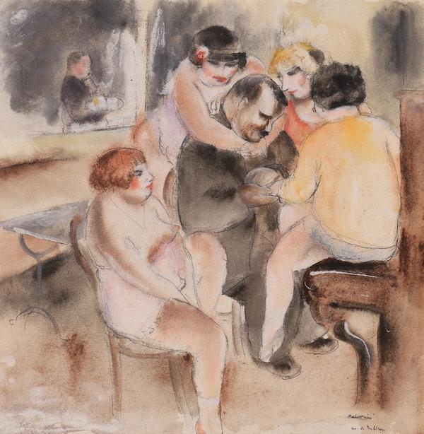 Jean Fautrier Les nus au bordel Gouache, 25 x 24 cm