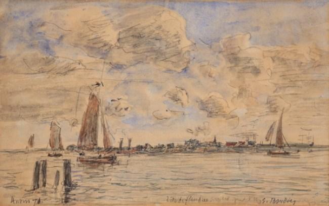 Eugène Boudin Anvers. La Tête de Flandres 1870 Aquarelle 20,5 x 32,8 cm