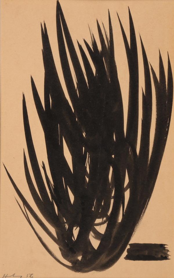Hans Hartung Composition 1956 Encre 18,5 x 11,5 cm
