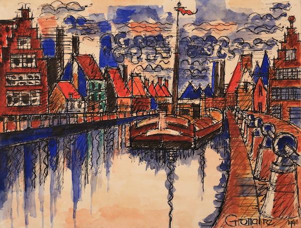 Marcel Gromaire Canal de Hollande 1941 Aquarelle 23 x 30,5 cm
