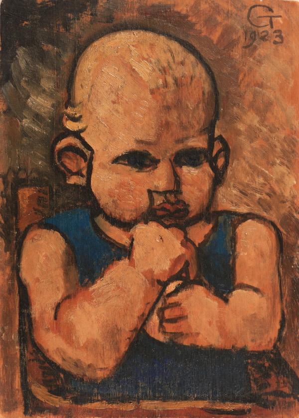 Marcel Gromaire Portrait de François Gromaire, son fils 1923 Huile sur panneau 22 x 16 cm