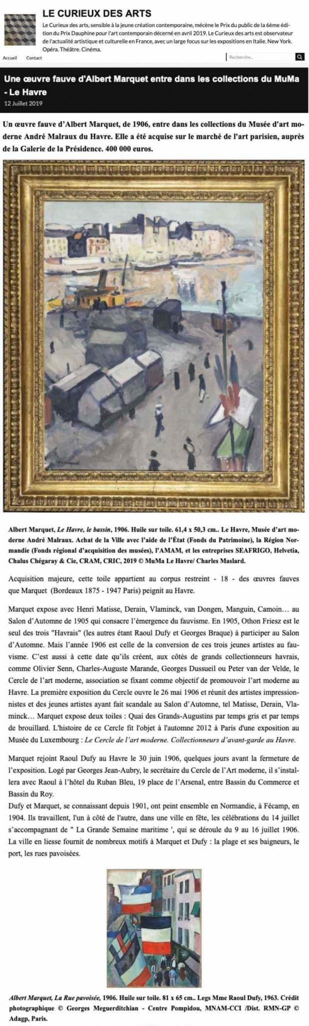 Article de Gilles Kraemer, Le Curieux des Arts : Une œuvre fauve d'Albert Marquet entre dans les collections du MuMa Le Havre