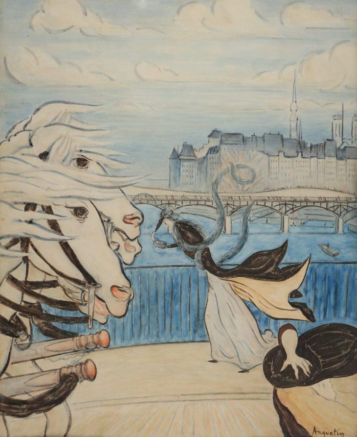 Louis Anquetin, Bourrasque sur le pont des Saints-Pères, Circa 1889, Watercolor and gouache, 66 x 53 cm
