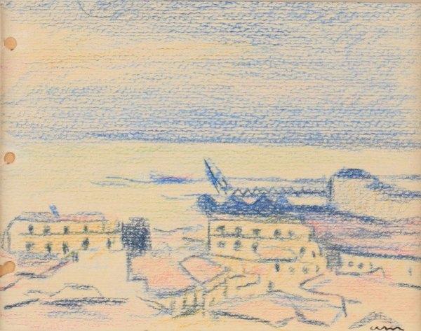 Albert Marquet, Vue du port d'Alger, Circa 1924, Pastel, 9,5 x 11,5 cm