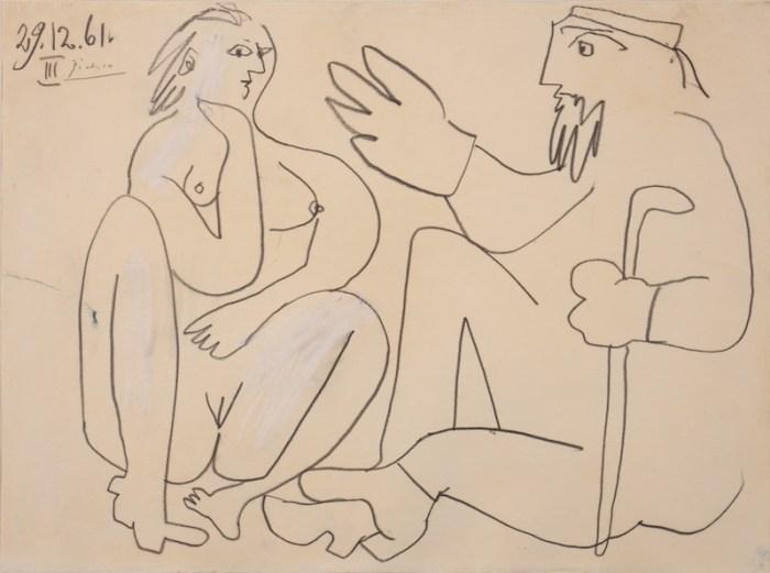 Pablo Picasso, Les déjeuners, 1961, Crayon, 24 x 32 cm
