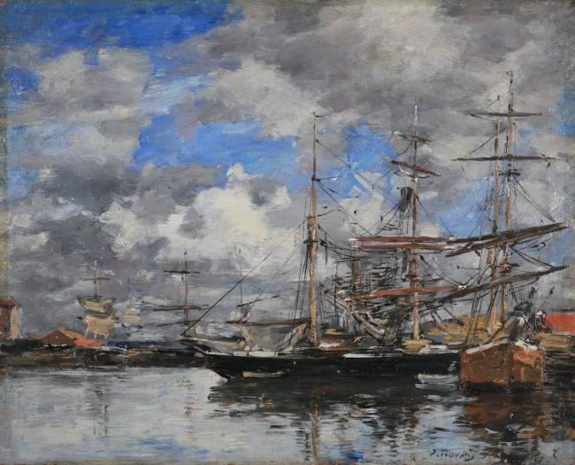 """Œuvre d'Eugène Boudin : """"Deauville. Le bassin"""""""