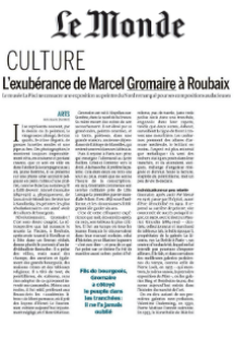 Article in Le Monde about the exhibition Marcel Gromaire in Roubaix