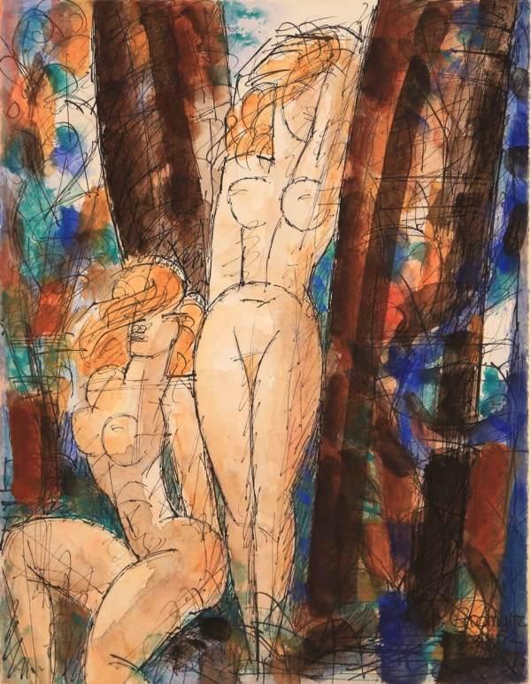 Marcel GROMAIRE, Femmes à l'orée du bois, 1952, watercolour