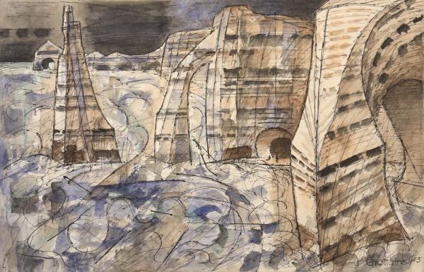 Marcel GROMAIRE, Etretat, les trois falaises, 1953, watercolor