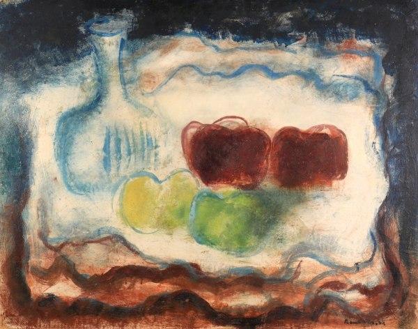 Jean FAUTRIER, Nature morte à la carafe et aux pommes