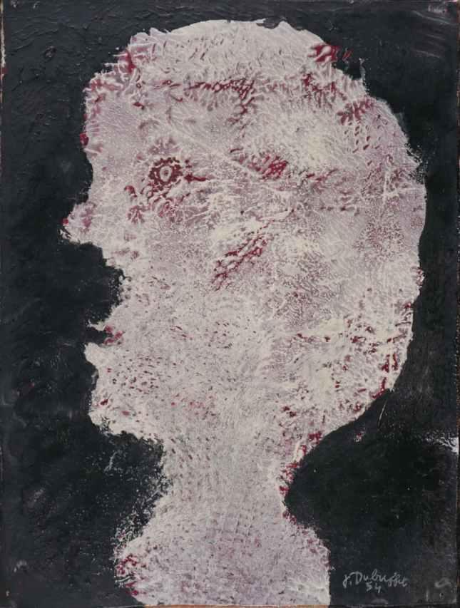 Jean DUBUFFET Tête profil à gauche Oil on panel 1954 5,5x19,5 cm