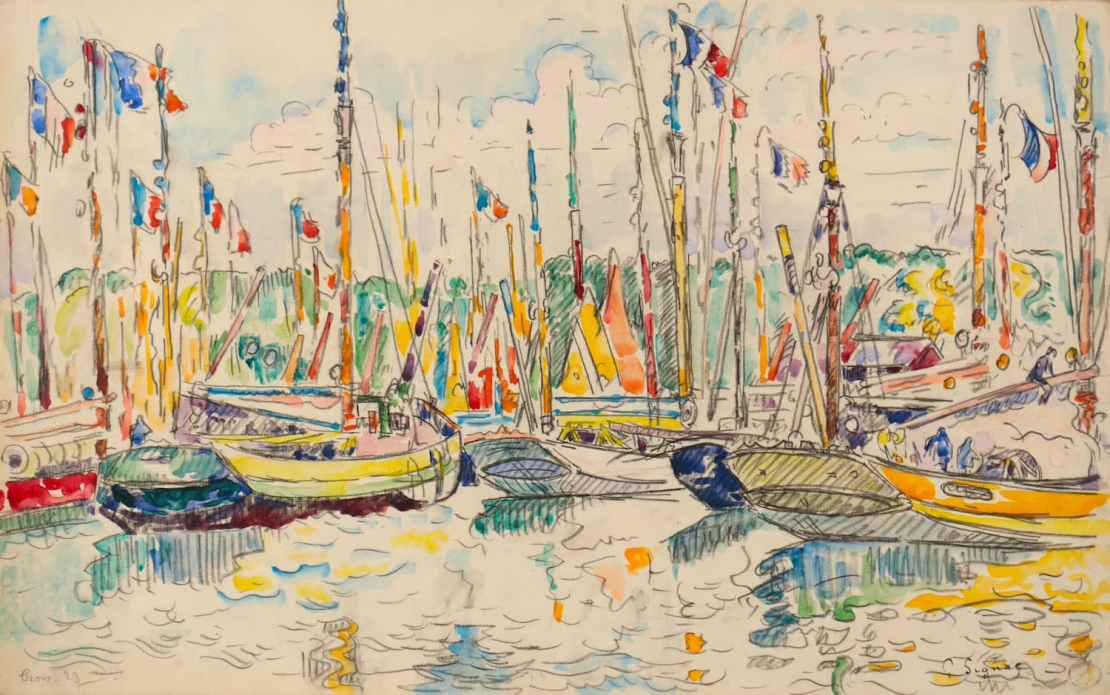 Paul Signac, Groix, bateaux pavoisés, 1923
