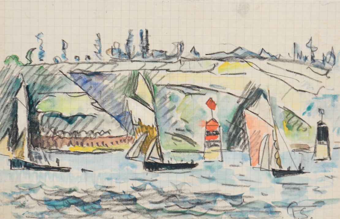 Paul Signac, L'Estuaire du Trieux à marée haute, Circa 1925