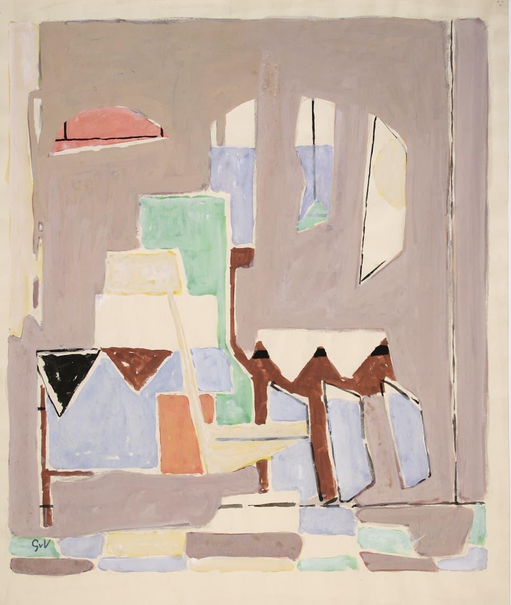 Geer van VELDE, Composition, C.1950-52, gouache et aquarelle,  54,3 x 39,5 cm