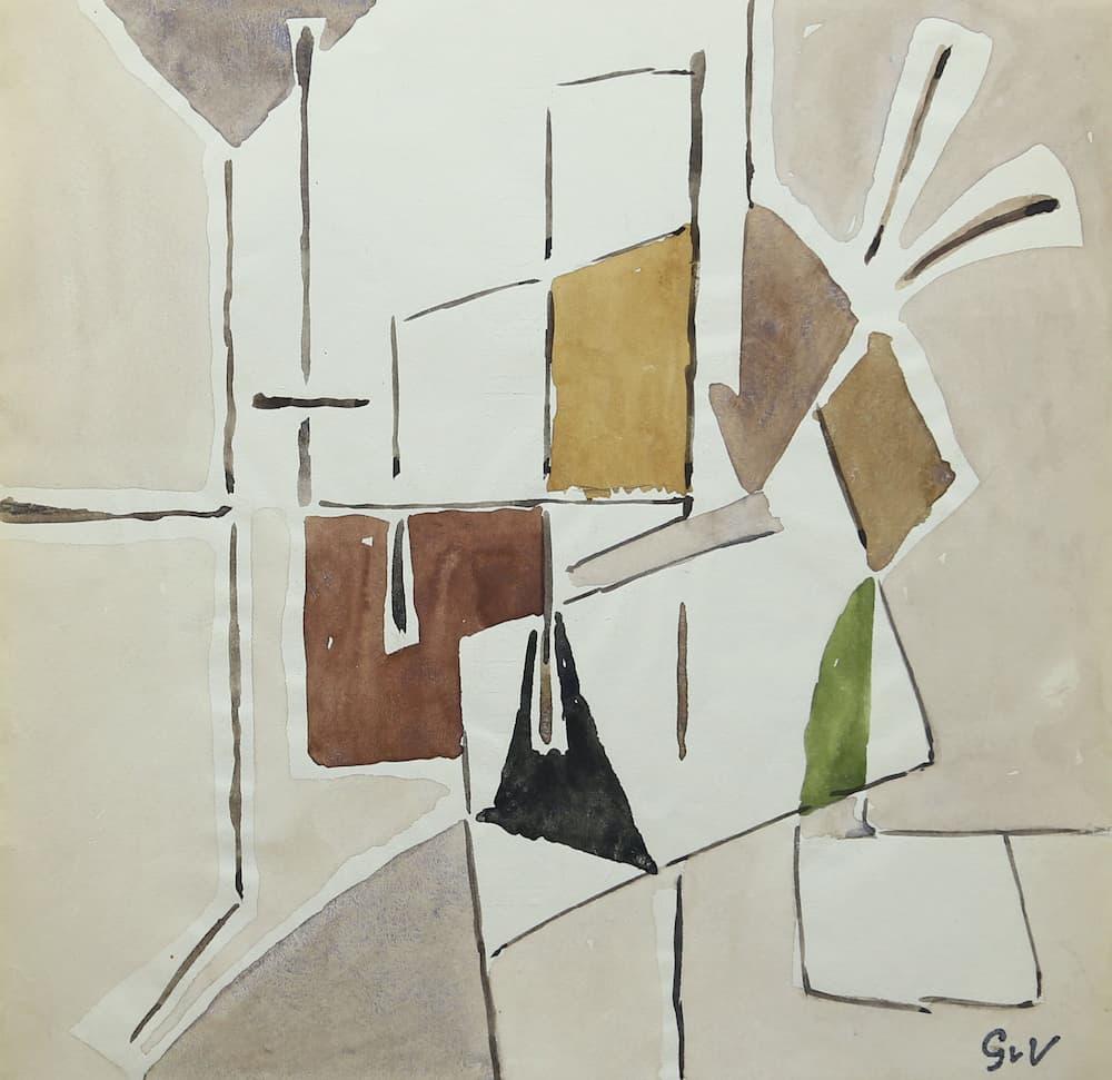 Geeer van VELDE, Composition, C.1953, gouache et aq, 20,5 x 21 cm