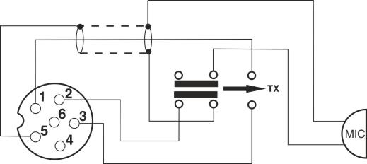 DNC 518 / 6 pins- Conexiones de la toma de microfòno