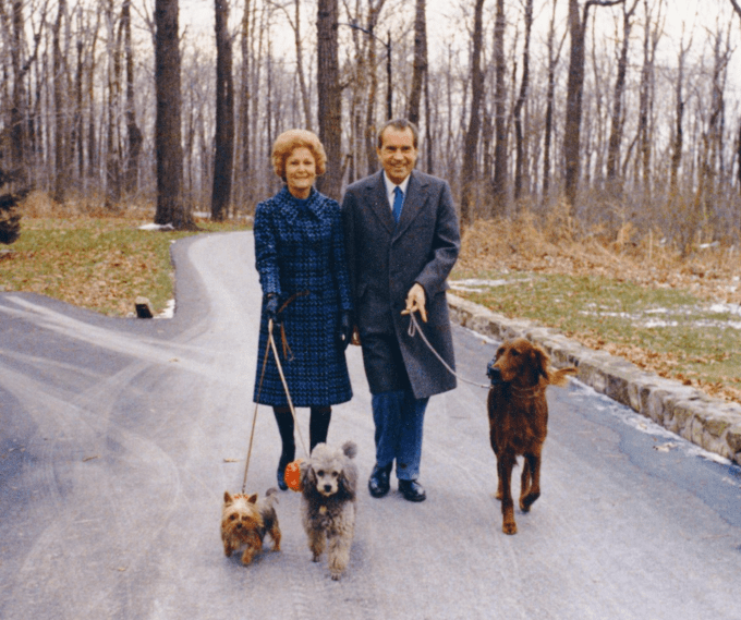 The Nixons walk their three dogs at Camp David, November 1973.