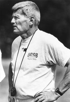 Sam Adams is shown above in 1992, the last of his 34 years as a track-and-field coach at UCSB, where he achieved an international reputation.