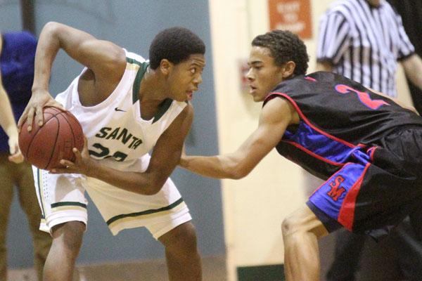 Noah Burke faces San Marcos' Elijah Johnson. (Presidio Sports Photo)