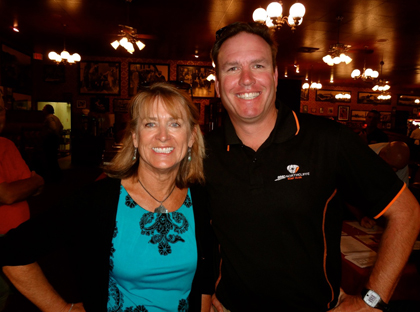 Laurie and past president Rich Hanna at Harry's Plaza Cafe to host dozens of local student-athletes at one of the weekly press luncheons. (Randy Weiss Photo)