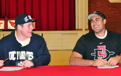 Nolan Tooley and Joe Salcedo of Bishop Diego Football