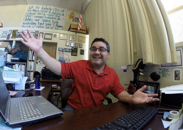 Aaron Solis in his classroom on the San Marcos High School campus.