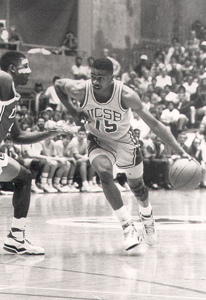 UCSB's Carrick HeHart faces UNLV's Greg Anthony in a packed Thunderdome. (UCSB Athletics Photo)