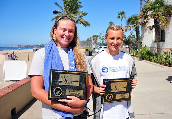 Courtney Weigand, left, and  Taylor Steffen were the winners of the Mullen and Henzell 1-mile ocean swim at Semana Nautica.