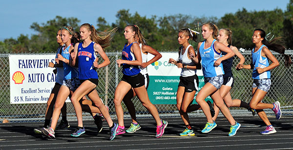 Dos Pueblos' Christina Rice, second to right, stayed behind the leaders at the start. (Presidio Sports Photos)