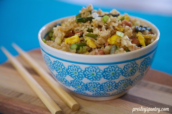 asparagus ham fried rice with chopsticks