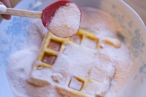 sugar cinnamon mix to dust waffles with