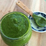 Green spicy spinach sauce made with Walmart marketside organic baby spinach