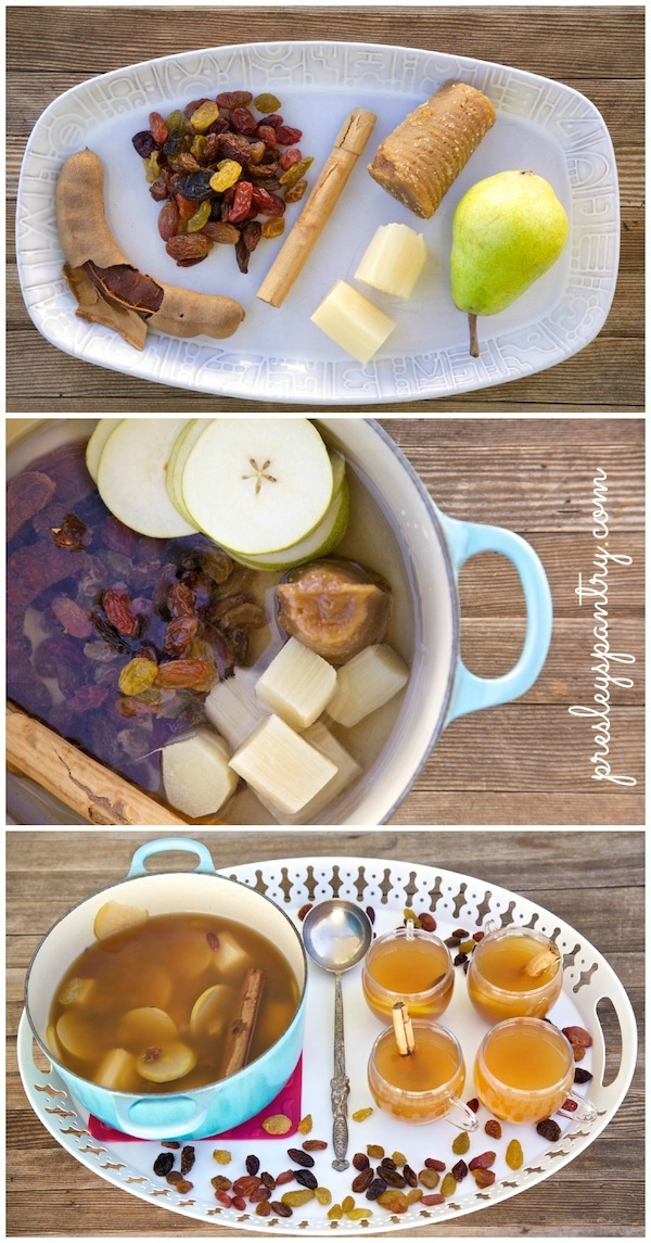 All the ingredients needed for raisin pear ponche. What it looks like going into the pot and what it looks like coming out. Absolutely delicious and soothing on a cold day or night.