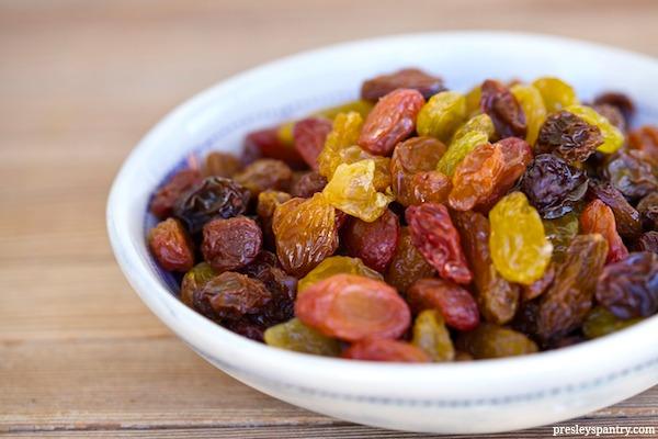 A bowl of California raisins