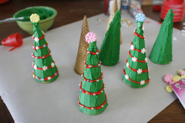 Christamas Trees made of sugar cones to be used as cake toppers