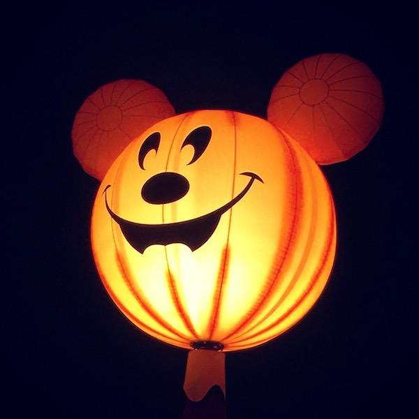 Mickey as a glowing pumpkin