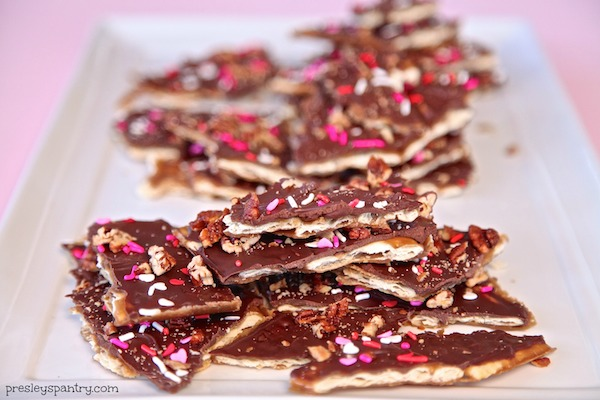 pieces of valentine cracker candy ready to enjoy