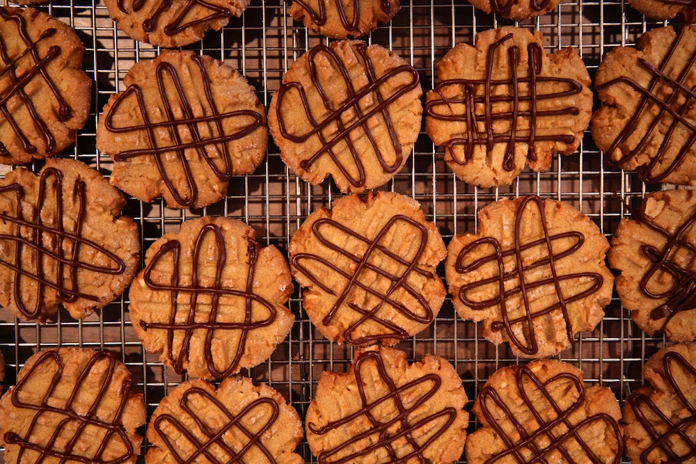 a small tribe of peanut butter shortbread chocolate cookies