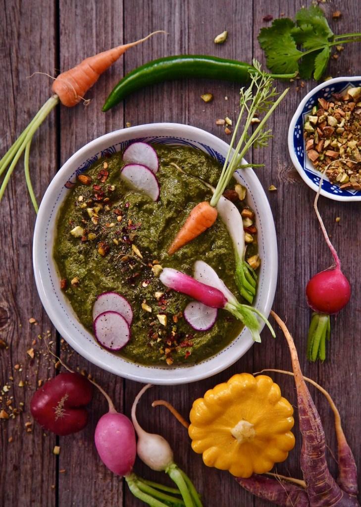 crudités and serrano cilantro pesto make entertaining easy.