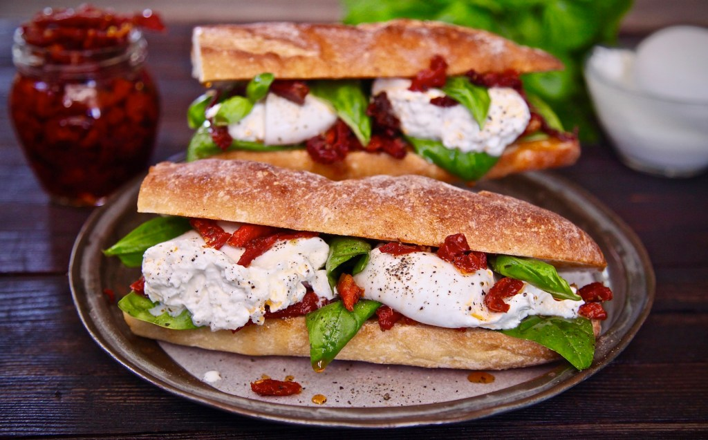 Easy burrata sun dried tomato sandwich