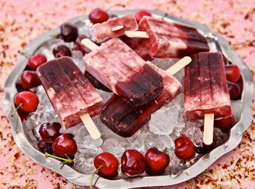 Cherry Coconut Paletas made with R.W. Knudsen® Cherry Juice! Delicious.