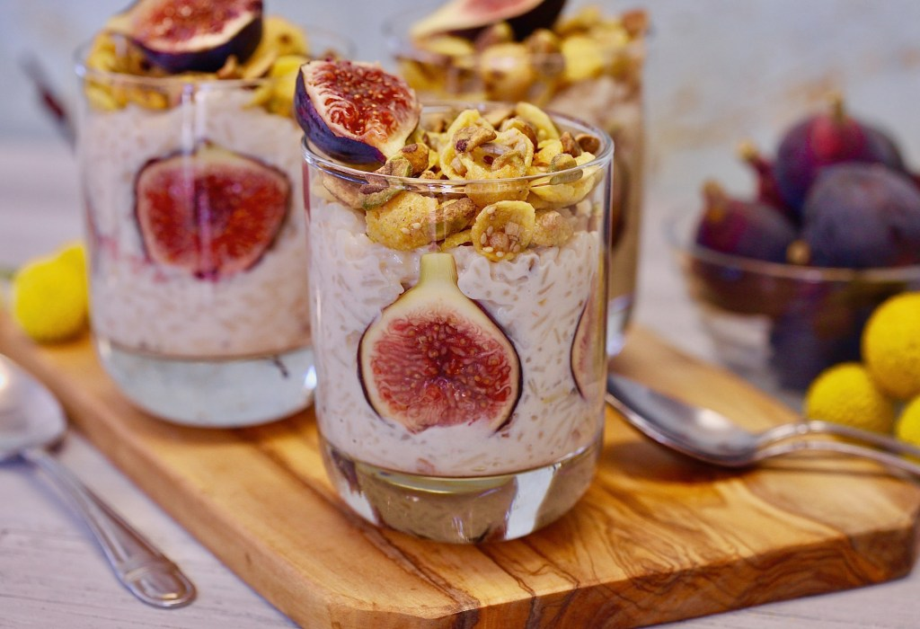 Pistachio Fig Arroz Con Leche makes a fantastic gluten free treat.