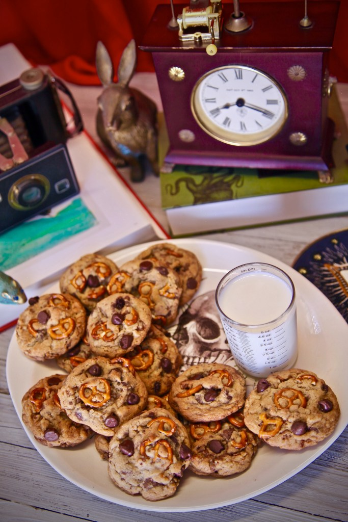 Chocolate Chip Pretzel Candied Pecan Cookies were a creation I dreamed up after seeing The House With A Clock In Its Wall by director Eli Roth.