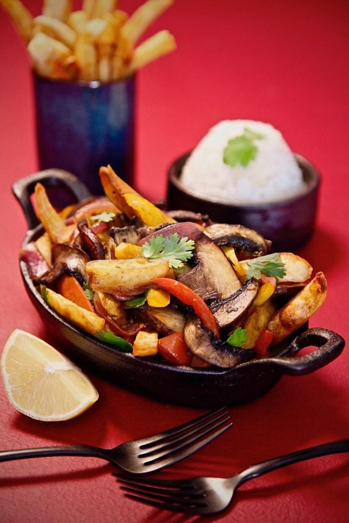 Mushroom Saltado using Idaho Potato french fries.