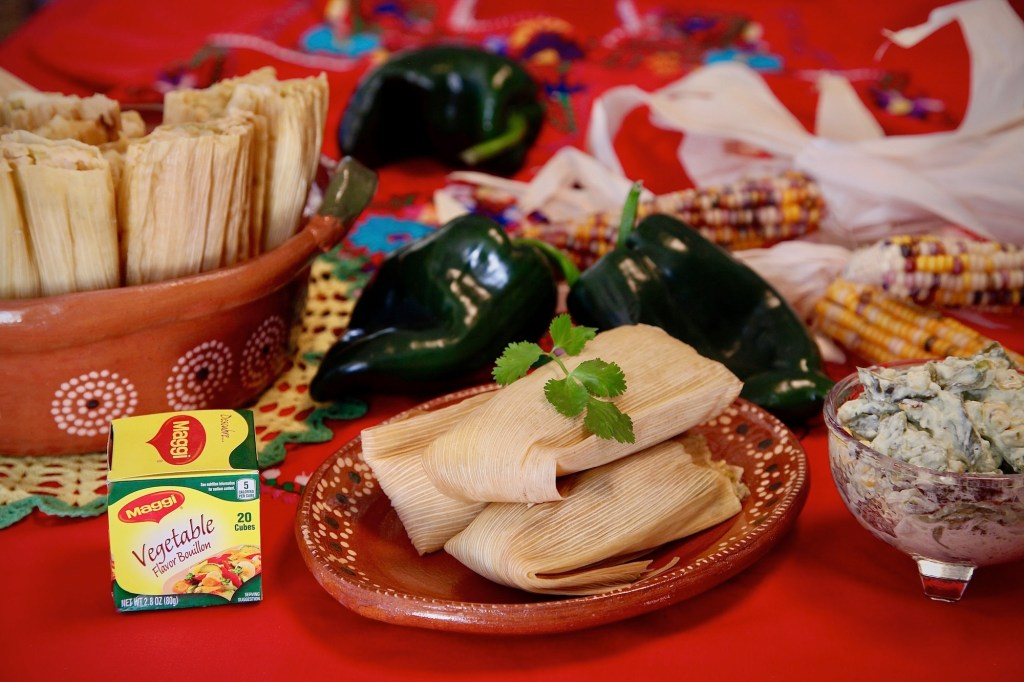rajas and cheese tamales fresh out of the steamer